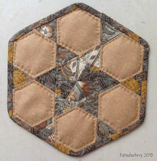 A Morris Tapestry Moda Fabric Hexagon Mug Rug