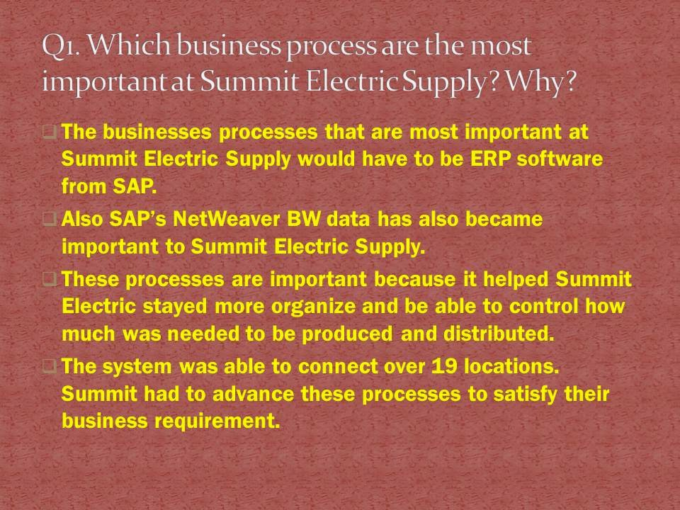 summit electric case essay Summit electric supply co, inc engages in the wholesale 2 what problems did summit have with its the case shows its customers new way that.