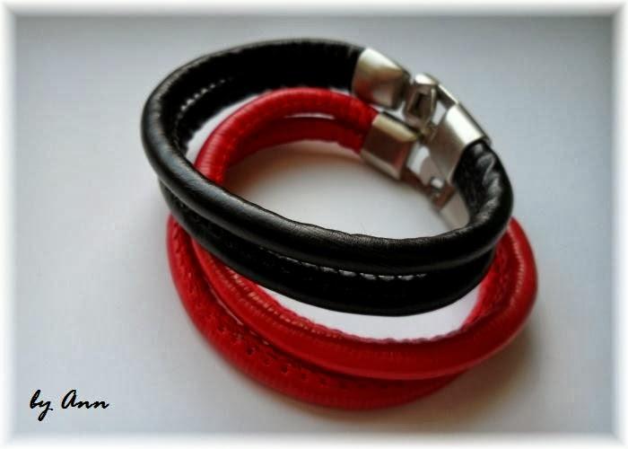 bransoletki czarny i czerwony rzemień szyty