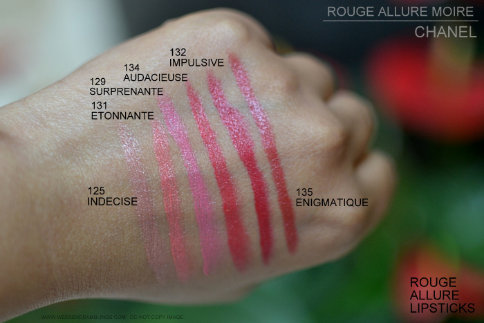 Chanel Rouge Allure Moire Makeup Collection Lipsticks Swatches 125 Indecise 131 Etonnante 129 Surprenante 134 Audacieuse 135 Enigmatique 132 Impulsive Indian Beauty Blog