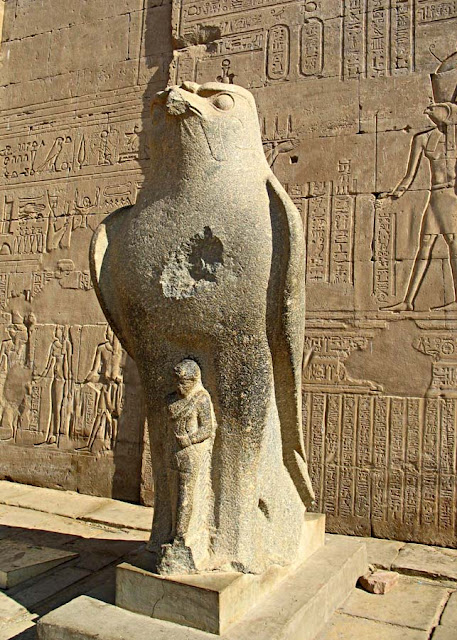 falcon god sculpture at edfu temple in Egypt