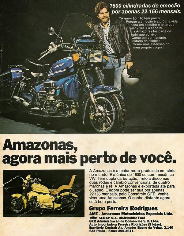 Propaganda da Moto Amazonas, nos anos 70. Modelo fabricado no Brasil.