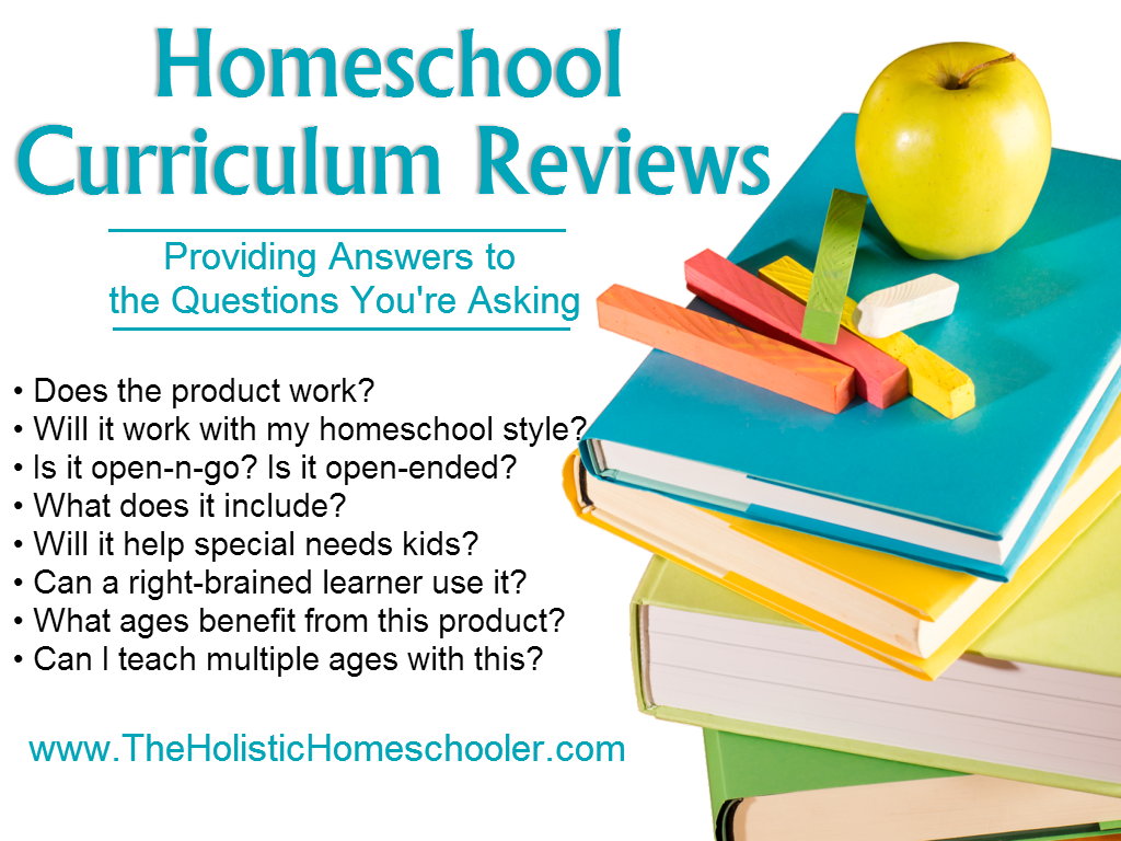 A complete list of books, homeschool curricula and products reviewed at The Holistic Homeschooler.