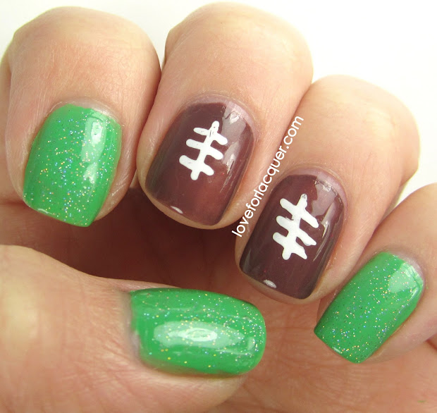 super easy football nails superbowl