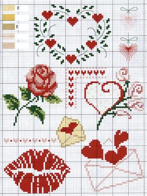 Gráfico Ponto Cruz - Corações