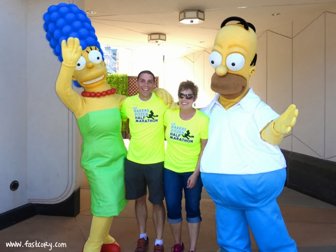 Sanding with Marge and Homer Simpson