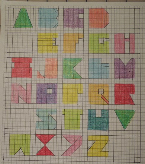 how to draw letters on graph paper