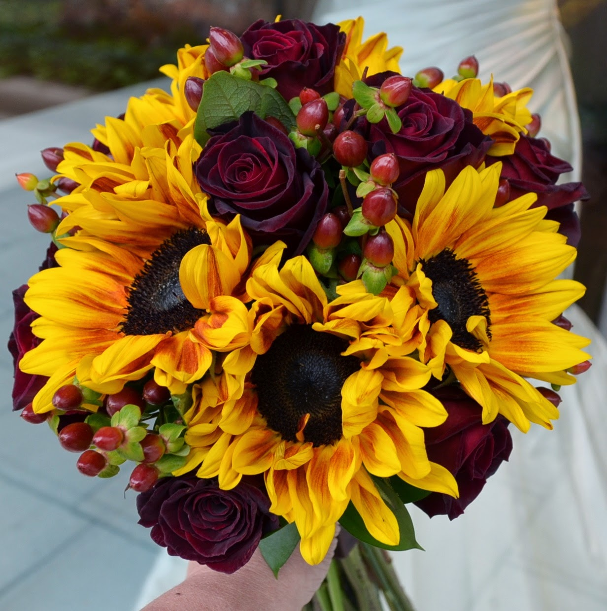Fall Sunflowers and Rose Wedding Bouquets