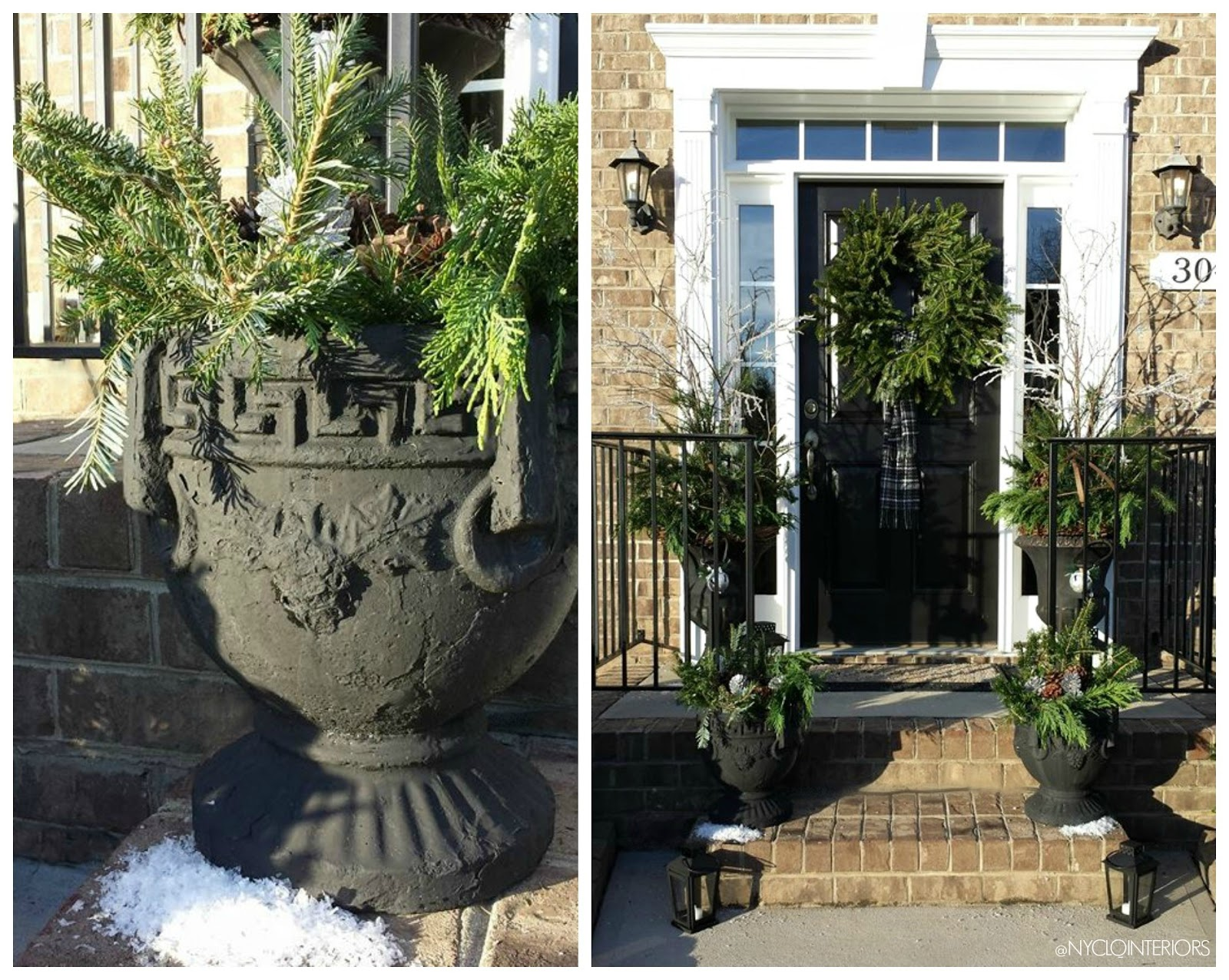 FOCAL POINT STYLING: OUTDOOR HOLIDAY ENTRY WITH URNS