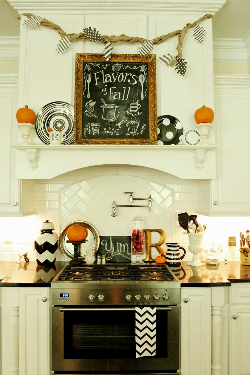 my fall kitchen decor and a free fall chalkboard printable