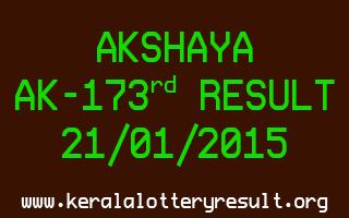 AKSHAYA Lottery AK-173 Result 21-01-2015