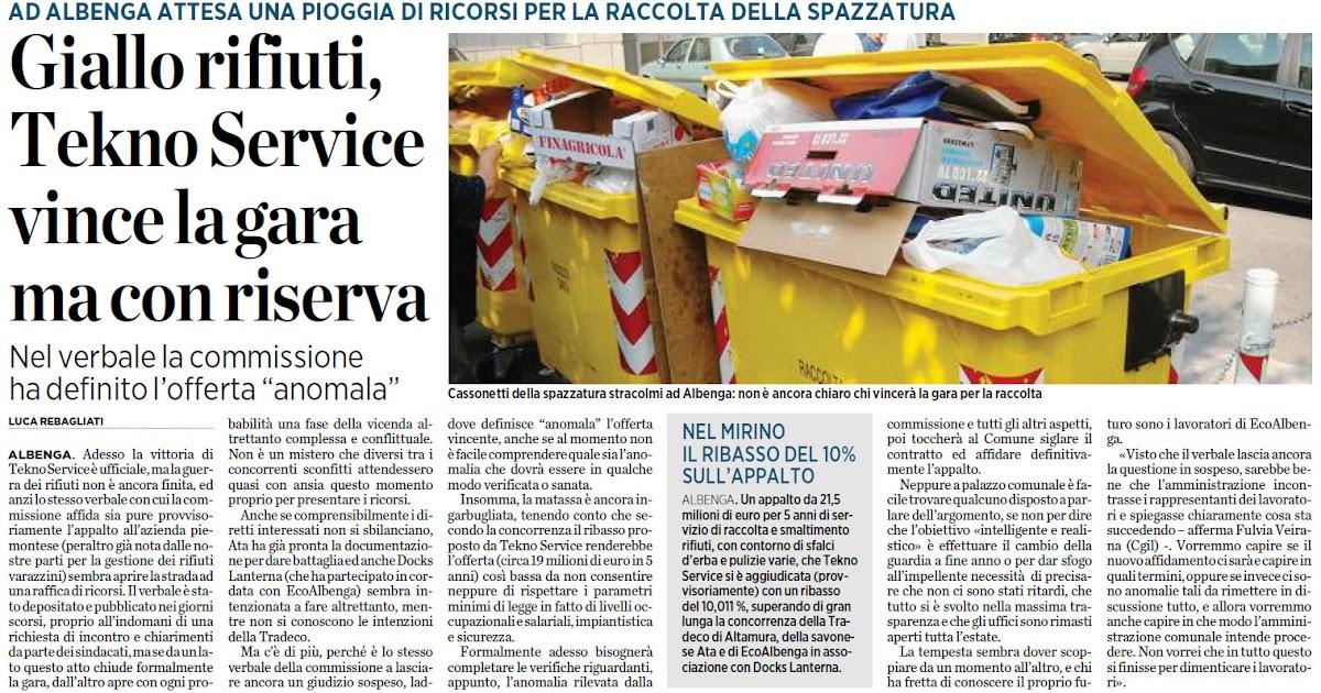 Alassiofutura albenga giallo sulla raccolta rifiuti la for Diretta da montecitorio