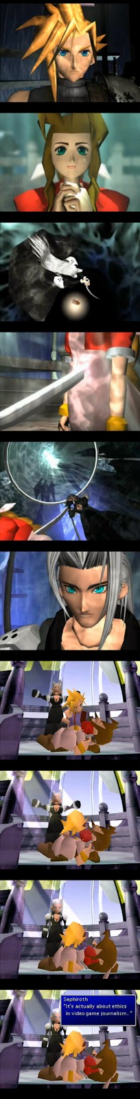 "A series of images of Sephiroth killing Aeris, and in the last one he says ""It's actually about ethics in video game journalism."""