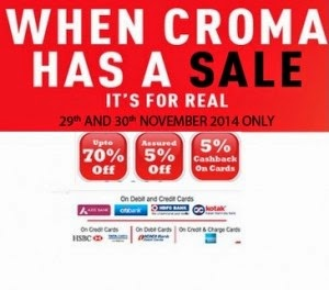 Croma: Buy Mobiles, ACs, Refrigerators & More upto 70% off + 5% off + 5% cashback on Rs.10000