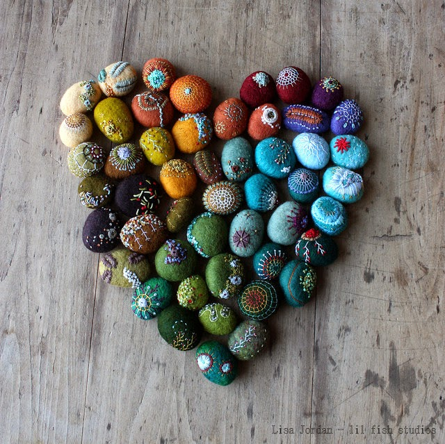 Felted stones by Lisa Jordan