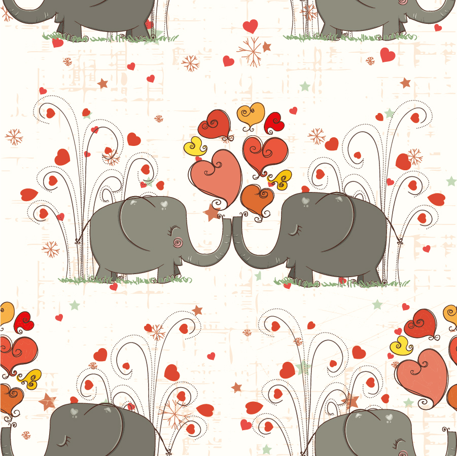 漫画風小象の背景 Cartoon cute animals baby elephant hearts background イラスト素材