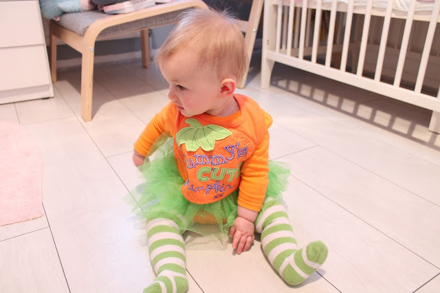 baby wearing mummy's little pumpkin halloween outfit from george asda