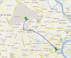 Route from Saigon airport to city center