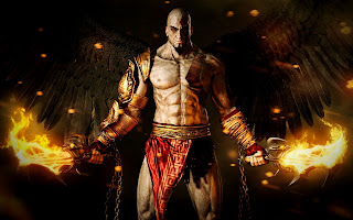 God of War Ascension Kratos with Angel Wings and Blades of Chaos Wallpaper