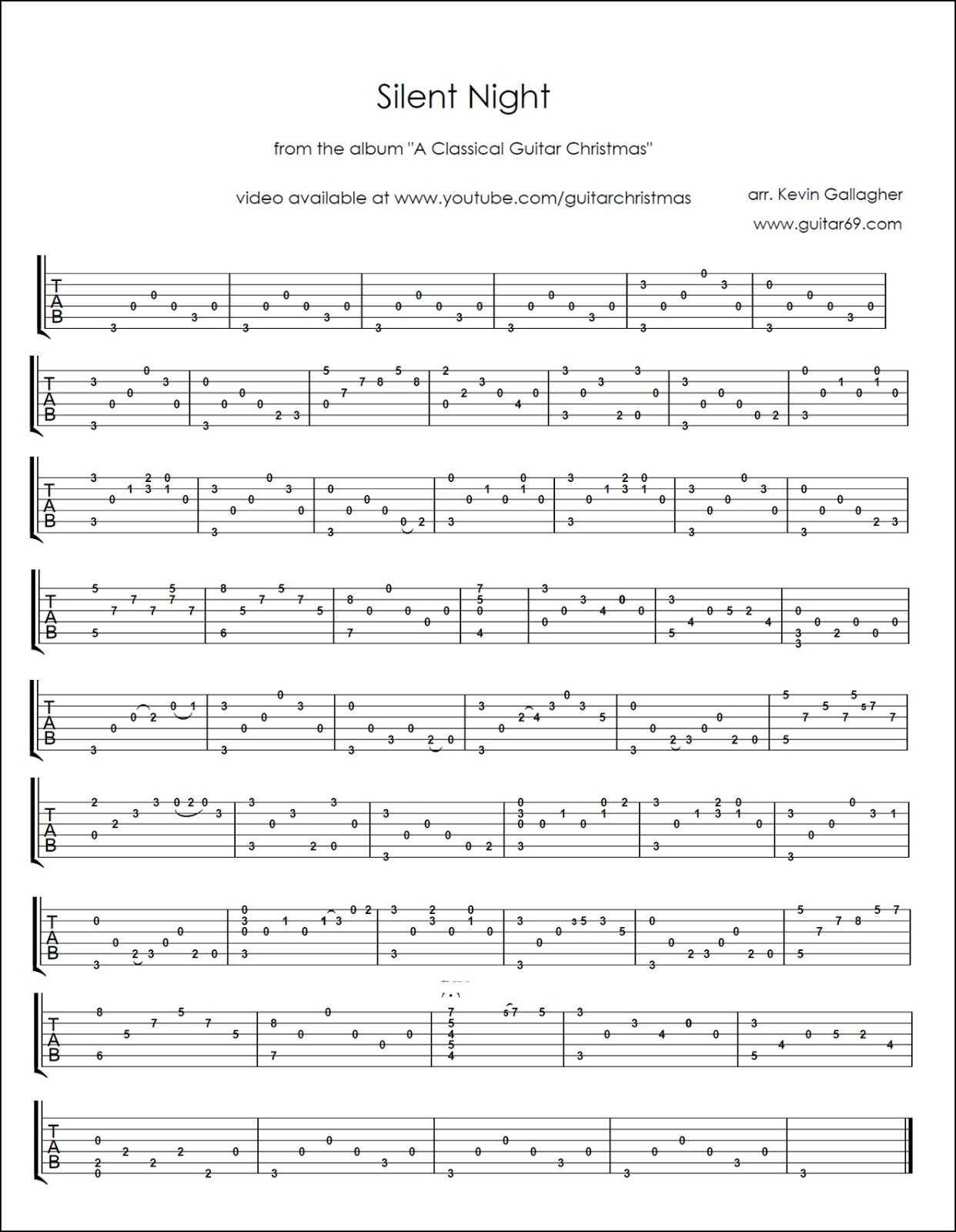 Mattwins Free Christmas Tabs For Classical Guitar
