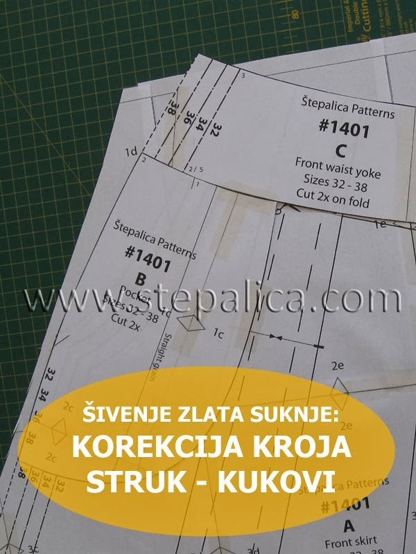 Šivenje Zlata suknje: #3 korekcija kroja za različite veličine struka i kukova