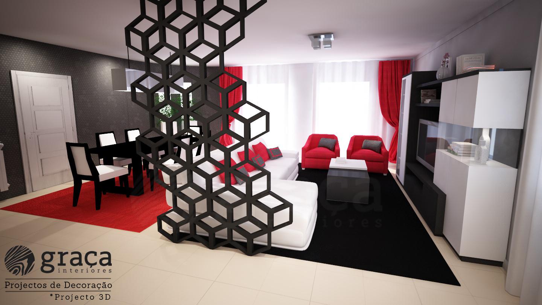 Projecto De Decora O Sala Nas Cores Vermelho Preto E Branco  -> Sala Em Cinza E Vermelho
