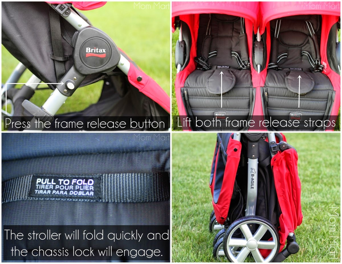 Britax BAgile Double Stroller Compact Quick Fold with Automatic Lock