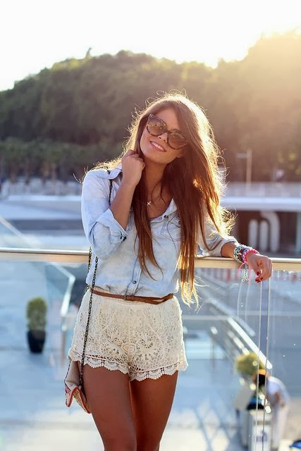 Lace style off-white skirt, jeans shirt and sunglasses for summers