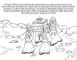 Coloring pages of joshua jordan river memorial stones crossing the jordan river