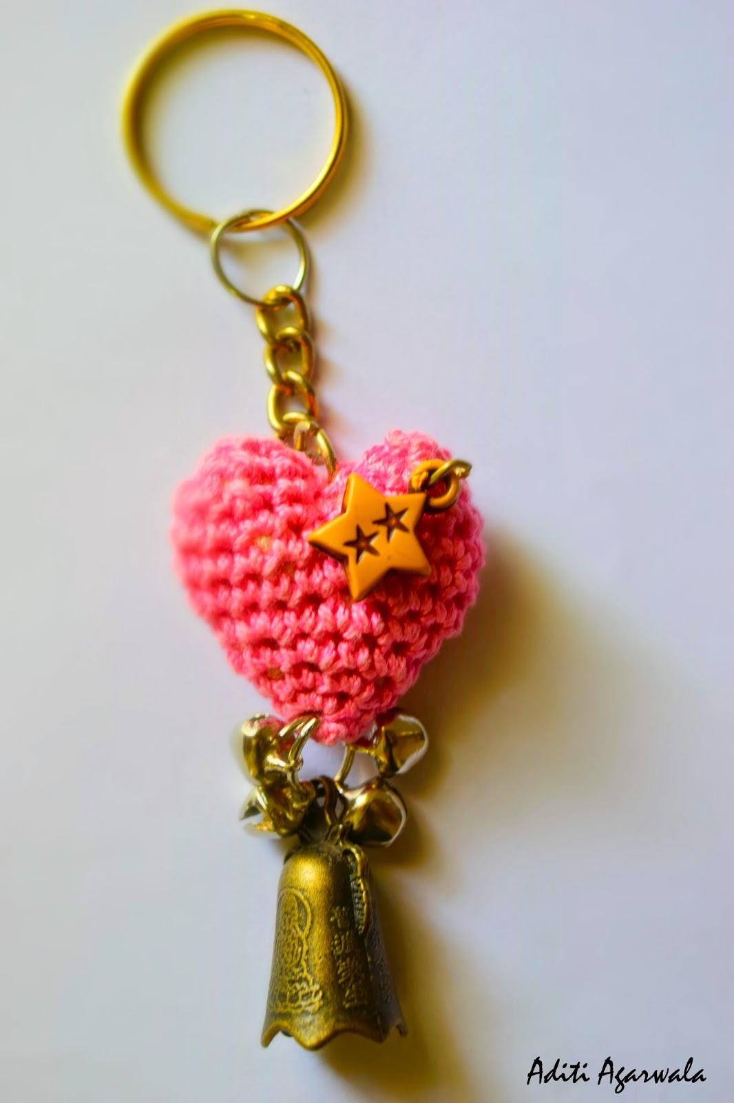 Pink colored heart shaped crochet key chain