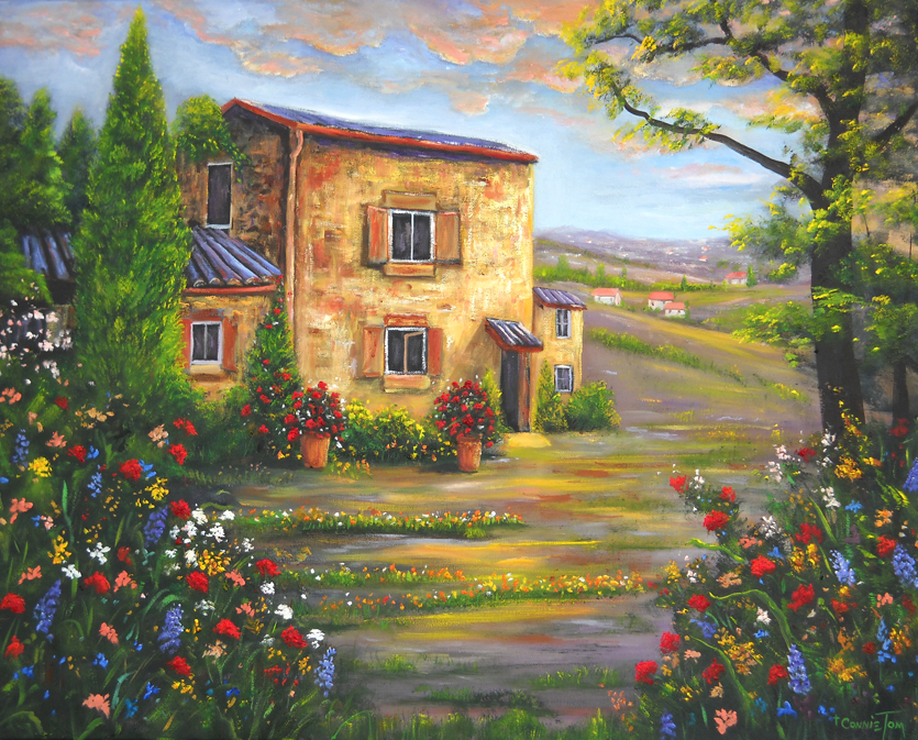 A painting for you tuscany farmhouse 24 h x 30 w for Oil paintings of houses