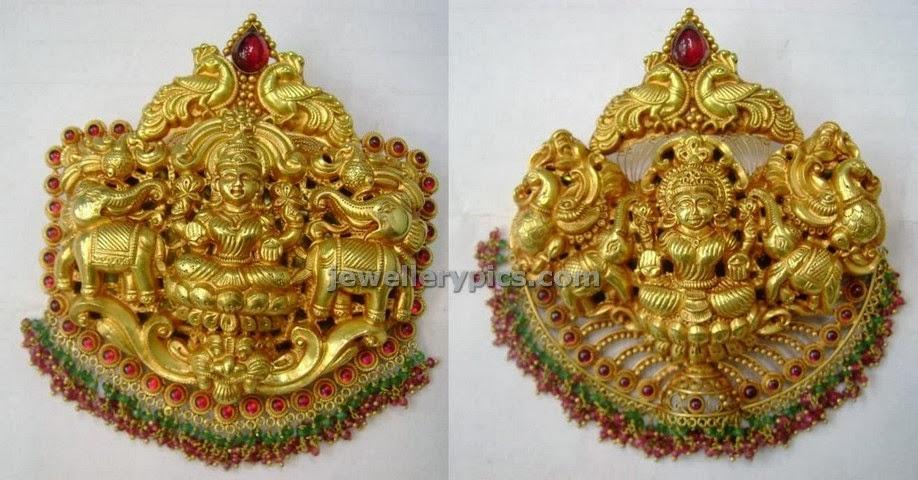 lakshmi devi locket in gold designs by varakrupa jewellers