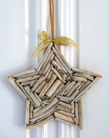 Christmas holiday star on wall with ribbon