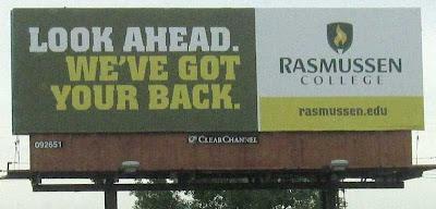 Rasmussen College billboard with headline LOOK AHEAD. WE'VE GOT YOUR BACK.