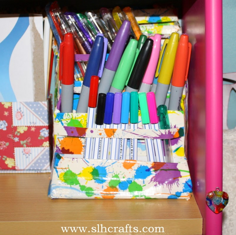handmade desk tidy duct tape
