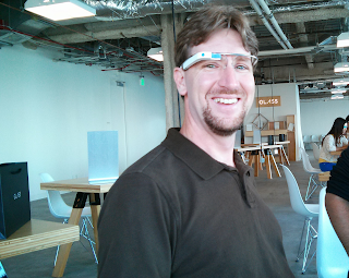 Sporting my new Google Glass in the warehouse-style fitting venue.