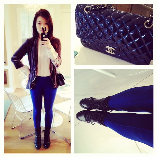 Aritzia outfit, wilfred velvet blazer, talula pants, chanel purse, club monaco shirt