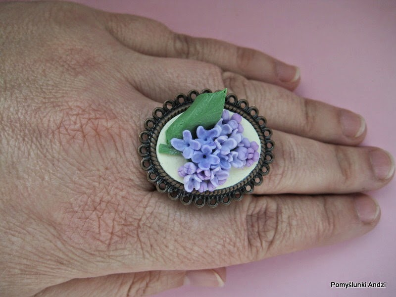 bez, lilac, ring, pierścionek, z bzem, z bzami, biżuteria,