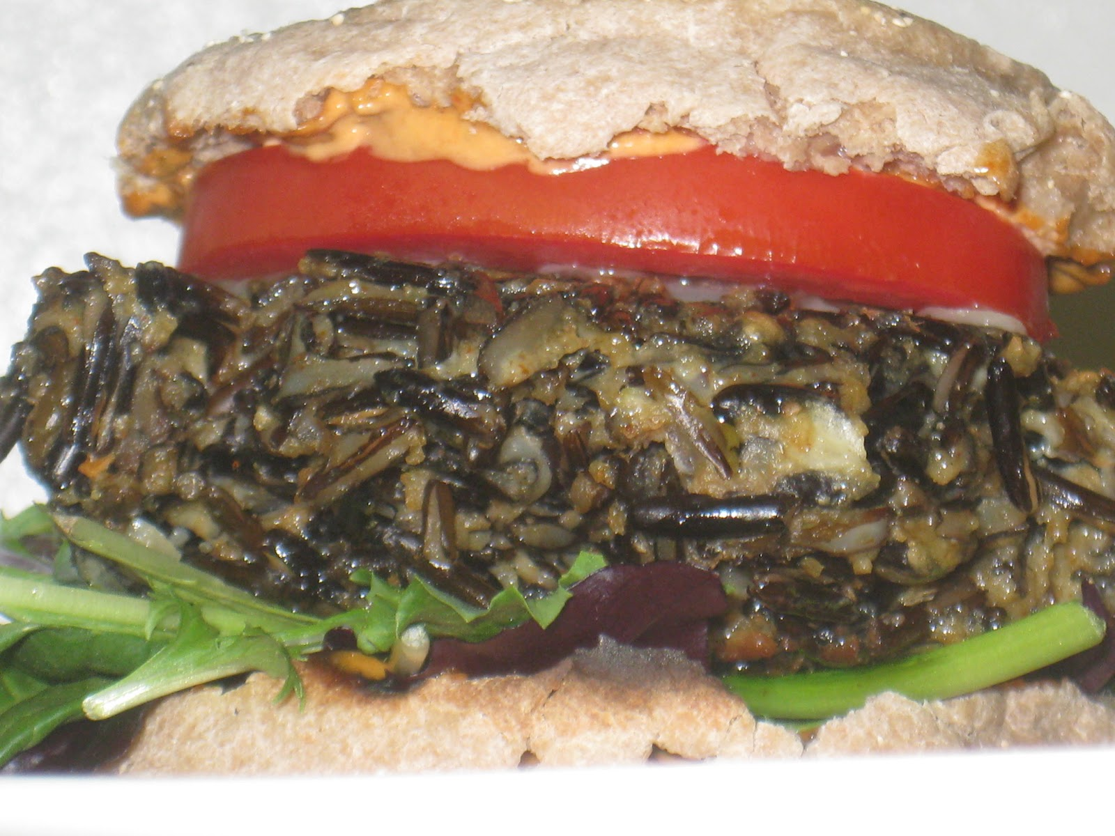 Wild Rice Burgers with Chipotle Mayo | The Very Hungry Vegetarian