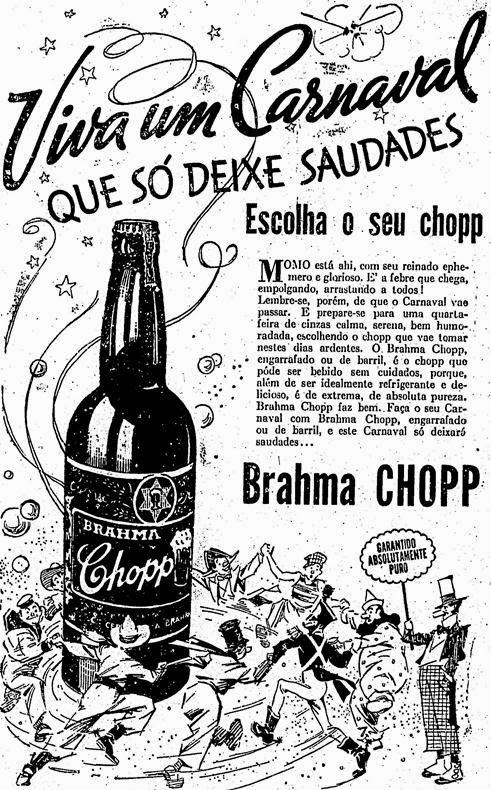 Propaganda do Chopp da Brahma no Carnaval em 1936.