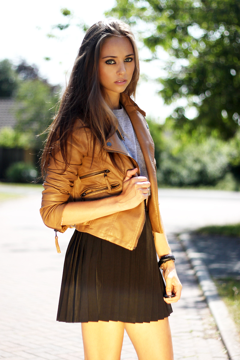 Cropped Brown Leather Jacket – Kokoluxe