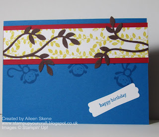 Birthday card using Stampin' Up!'s Fox and Friends, Borderlines and the Bird Builder Punch