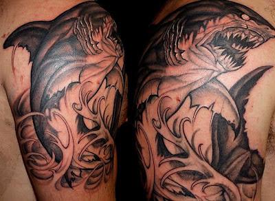 Tatuaje de Tiburón blanco estilo japonés