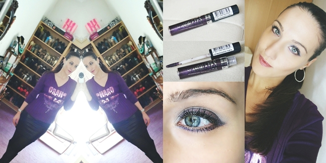 Instagram @lelazivanovic.In a purple mood: outfit + makeup.Purple makeup. Rimmel Scandal eyes in Manganese purple.
