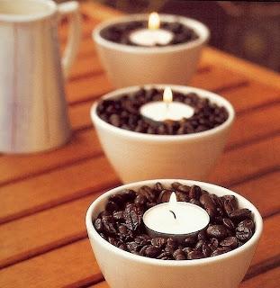 coffee beans, tea light, bowl, smell