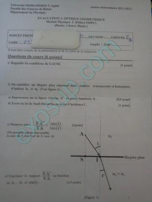 examen d'optique géométrique smpc s2 fsr