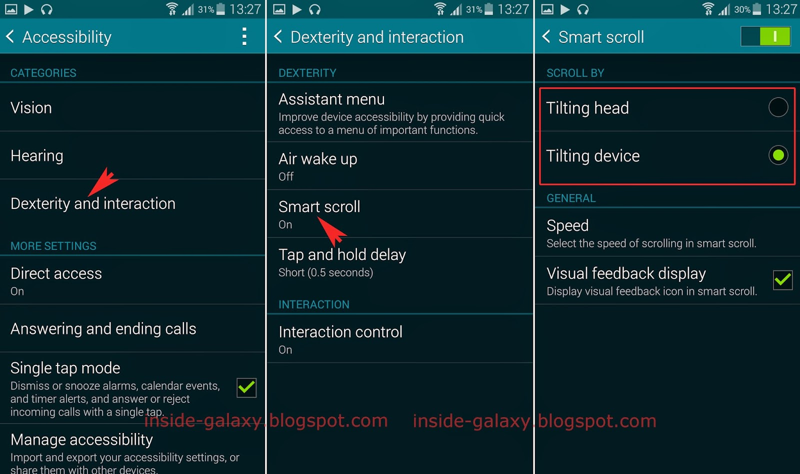 How to enable or disable the smart scroll feature