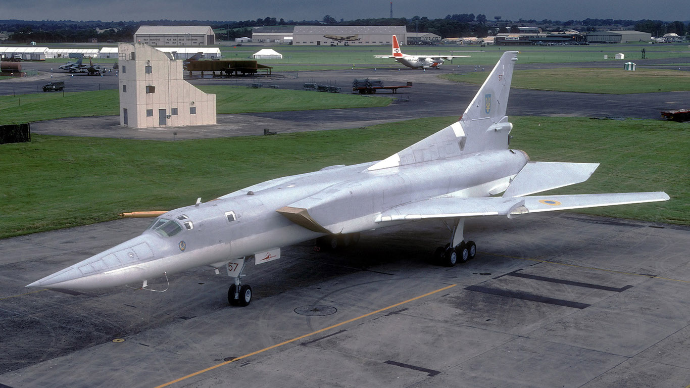 Tupolev Tu-22M just like the concord its a supersonic swept-wing jet, not for passenger use but rather a Russian bomber.
