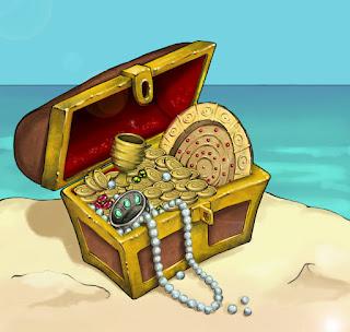 Cofre abierto con tesoro pirata, a la orilla del mar