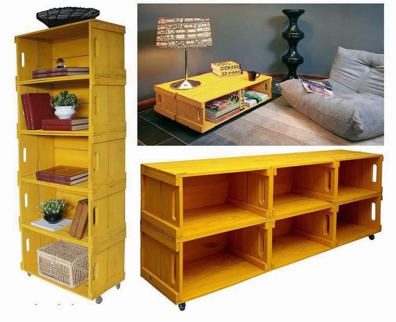 Crea tus manualidades mesas y estanterias con cajas de - Mesas con cajas de madera ...